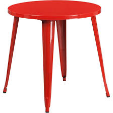 red metal 30 inch round indoor outdoor cafe table
