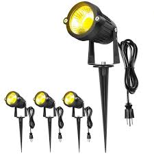 Line Voltage Led Lights Warmoon Outdoor Led Landscape Spotlight Waterproof Warm White Line Voltage Spiked Stand For Driveway Yard Lawn Flood Exterior Garden 4 Packs