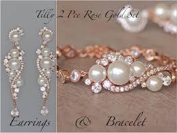 bridal jewelry set pearl bridal set crystal bridal set rose gold set 18k gold set earrings bracelet set wedding jewelry set tilly