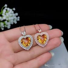 whole beautiful yellow big heart gemstone trendy pendant of natural citrine love heart shaped stone pendant with necklace 16 18 adjustable diamond