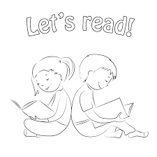 kids reading books coloring pages page outline stock vector ilration o