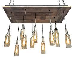 11 wine bottle pendant reclaimed wood chandelier