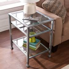 southern enterprises silver and black glass top end tablehd