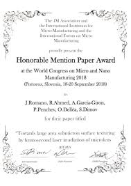 Line Paper Simple JeanMichel Romano Awarded For His Paper At WCMNM488 LASER48FUN
