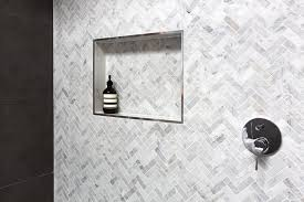 how to create recessed bathroom shelves