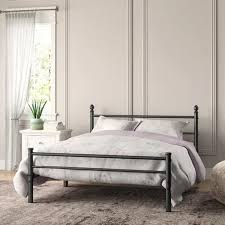Shop VECELO Queen Metal Bed Frames with Simple Headboard and ...
