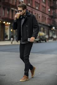 pair a black pea coat with black jeans if you re going for a neat
