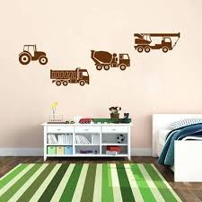 transport wall decals wall decal sticker tractor truck crane worker transport vehicle rack room transport wall
