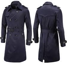 mens winter double ted trench coat turndown collar topcoat slim fit long overcoat