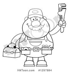tool belt vector. cartoon black and white male plumber wearing a tool belt holding up monkey wrench #1297884 vector