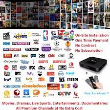 Onsite Installation/Setup of Android 7.1 TV Box (No Contract, No  Subscription). Enjoy Live Sports, Latest Movies/TVs and Hundreds of  International Channels with no additional cost, TV & Home Appliances, TV &  Entertainment,