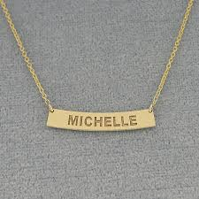 small personalized solid gold any name engraved horizontal curve bar necklace 1 inch gc39