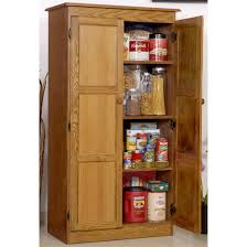 Varnished Oak Wood Kitchen Pantry Cabinet With Swing Doors of Wooden