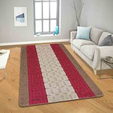 geometrical design gel back brown red rugs
