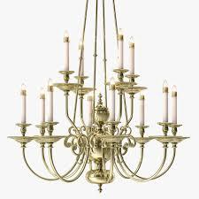 one kings lane 12 arm brass chandelier 3d model max obj 3ds fbx mtl 1