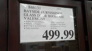 estimable glass door costco bayside furnishings valemont glass door bookcase costco weekender