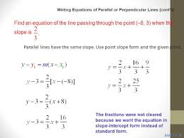 classroom example 6 writing equations of parallel or perpendicular lines cont d