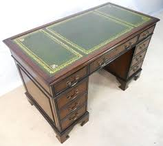 leather top writing desk uk antique mahogany pedestal with furniture