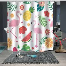 2019 pink flamingo shower curtains washable bath decor polyester fabric cute animal print bathroom curtains with hooks home decoration from dytowel