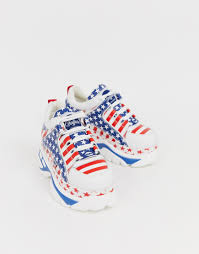 <b>Низкие</b> кроссовки с принтом флага США <b>Buffalo</b> London - Белый ...