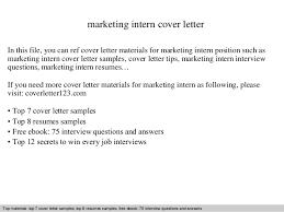 Marketing Intern Cover Letter