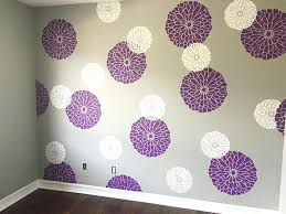 a stenciled nursery accent wall in purple gray and white using the summer stencil ideas patterns bathroom wall stencil ideas