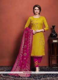 Cotton Churidar Dress Design Patterns Embroidered Cotton Churidar Designer Suit