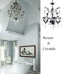 bathroom chandelier lighting. bronze crystal leafy bathroom chandelier lighting a