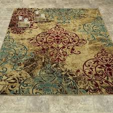 modern contemporary light brown red teal area rug and cream rugs