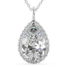 halo pear shaped diamond pendant necklace 14k white gold 4 69ct
