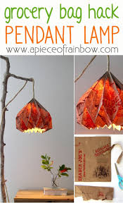 make grocery bag origami lampshade a piece of rainbow