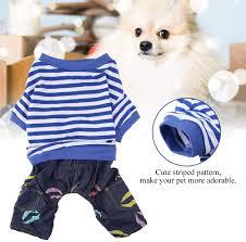 Blue+White M <b>Pet Dog</b> Hooded <b>Clothes Dog Puppy</b> Cat Striped ...