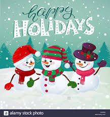 Holidays Snowman Three Funny Snowmen In Hats Scarfs And Mittens On Snowy Background