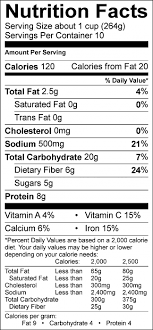 photo of nutrition facts of refried bean soup
