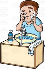 washing face clipart. Beautiful Face A Man Curiously Scrubs His Face With A Foamy Soap And Water In Washing Face Clipart H