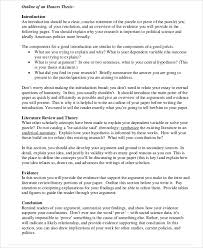 thesis outline templates sample example format  honors thesis outline