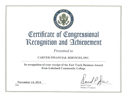 Achievement Certificate Certificate Of Congressional Recognition And Achievement Carver