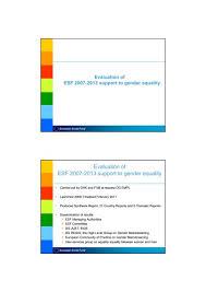 2. Evaluation of ESF 2007-2013 support to gender equality, Effie ...