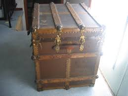 antique wooden chest travel storage trunk item 305 for