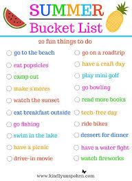 Summer Bucket List 20 Fun Must Do Activities Kindly Unspoken