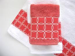 Coral Bathroom Decor Coral White Towels Hand Towels Bath Towels Custom Towels