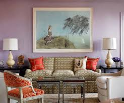 furniture color matching. modern living room decorating with light purple wall paint color and bright red fabrics furniture matching