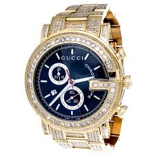 diamond gucci ya101334 watch 9 50 ct new custom mens 101 g gold main image