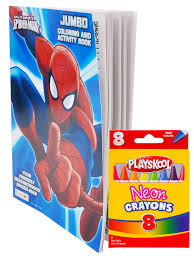 There are 14685 spiderman art for sale on etsy, and they cost $19.27 on average. Marvel Spider Man Coloring Book Neon Crayon Set Walmart Com Walmart Com