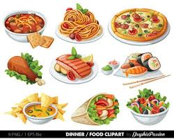 food clipart. Simple Food Food Clip Art Clipart Spaghetti Pizza Sushi Nachos Salad Clipart  Dinner Digital Vector Fast Art INSTANT DOWNLOAD With