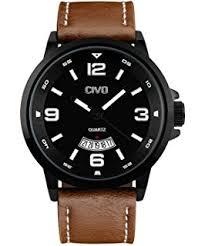 civo men s brown leather band analogue quartz wrist watch mens 30m civo men s big face brown leather band wrist watch men waterproof business casual dress watches water