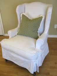 white denim wingback chair