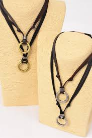 men s leather necklace circle dz adjustable 6 black 6 brown leather mix 3 of each color asst hang tag opp bag upc code wholeimport com