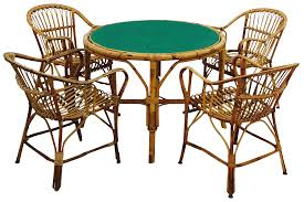Game Table And Chairs Set Vintage Rattan Game Table Chair Set Chairish