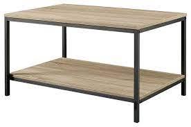 black metal frame coffee table with oak